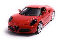 Alfa Romeo 4c Sportwagen Modellauto Auto in Rot Maßstab 1:34 (lizensiert)