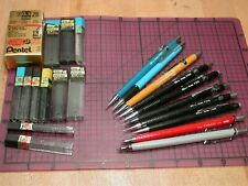 Vintage Pentel Mechanical Pencil Lot .9 .7 .2 With Extra Leads Orenz