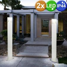 2x Acero Inoxidable LED de Pie Luces Jardín Weg Zócalo Lámparas Exterior Blanco
