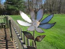 """12"""" Tall Stainless Steel Wrought Iron Sunflower Pot Garden Decor Handmade in Usa"""