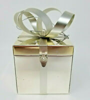 Vintage Large Silver Mirrored Bowed Jewelry Present Ring Gift Box