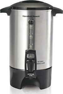 *New* HAMILTON BEACH 45-Cup COFFEE URN w Large Handles Auto Shut-Off Aluminum