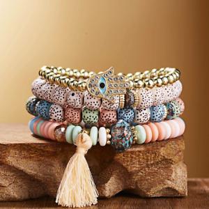 Bohemian Evil Eye Bracelets Women Natural Stone Bead Fashion Jewelry 4Pcs/lot