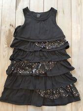 Children's Place L 10/12 Gray Tank Dress  Ruffled Layered Sequins Cotton Bn3