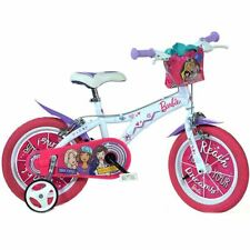 "Dino Barbie Themed Kids Girls First Bike Bicycle 16"" Pneumatic Wheel White Pink"