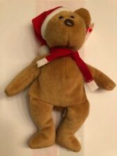Ty Beanie Baby Holiday Christmas Teddy Bear w Santa Hat DOB 12-25-96
