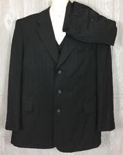 Lucelli Mens Dark Grey Striped 3pc Suit Polyester Sz 46R 39x29 (t10)