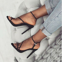 Stiletto Sandals Womens Open Toe Party Summer High Heel Ankle strap Shoes New