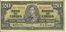 Bank of Canada 1937 $20 Twenty Dollars Gordon-Towers B/E Prefix VF
