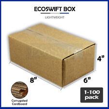 1 100 8x6x4 Ecoswift Cardboard Packing Mailing Shipping Corrugated Box Cartons