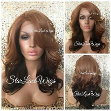 Strawberry Blonde Dark Auburn Ombre Lace Front Wig Layered Bangs Heat Safe Ok