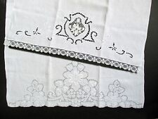 2 Antique Fine Linen Handcrafted Fingertip/GuestTowels-Embroidery/Cutwork-Europe