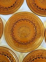 Amber Colony Park Lane Indiana Depression Glass Luncheon Plates - set of seven