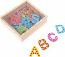 Bunte Magnetbuchstaben aus Holz 37 Stück ABC Alphabet Buchstaben Lernspiel Neu