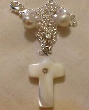 """Pearl Shell Cross & 925 Water Pearl Stud/petaearings/Ster Argent 18"""" Chaîne/manche"""