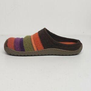 Haflinger Womens Jesse Mule Slippers EUR 39 Striped Orange Purple Green Brown
