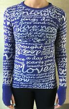 LULULEMON Size 4 Long Sleeve Daily Practice Shirt Purple Manifesto Top Run GUC