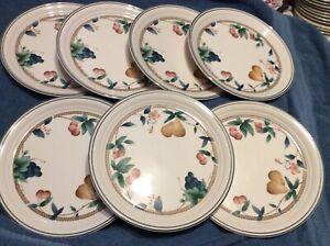"7-DINNER PLATES  NORITAKE  KELTCRAFT ""NATURES BOUNTY"" ireland -pretty plates !!"