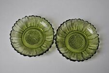 """VINTAGE OLIVE GREEN GLASS DISHES  SET OF (2)  FLOWER (DAISY?) APPROX 4"""""""