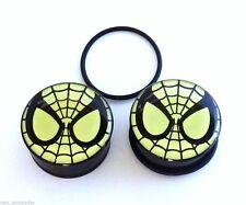 PAIR-Spiderman DC Comics Glow Acrylic Single Flare Plugs 08mm/0 Gauge Body Jewel