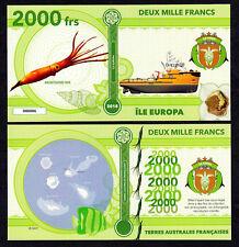 RARE ★ ILE EUROPA ● TAAF / COLONIE ● BILLET POLYMER 2000 FRANCS ★ N.SERIE 000006