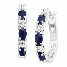 2 1/10 ct Natural Sapphire Hoop Earrings with Diamonds in Platinum-Plated Brass