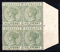 Barbados QV 1882-86 SG89 1/2d. Dull Green Mint No Gum Blk of 4 stamps