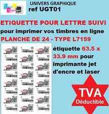 Étiquettes pour timbre: lettre suivie en ligne, planche de 12 lettres suivies