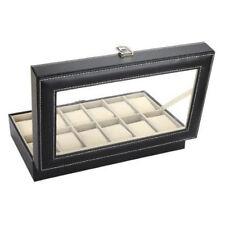 Reloj caso Caja 12 Rejilla Pantalla Negro Imitación Cuero almacenamiento Bracel vendedor Reino Unido