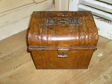 Vintage Metal Trunk Chest With Brass Lock Shop Display Recycle Raf 1960 70 Making Things Convenient For The People 1900-1950