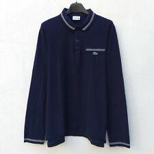 Polo LACOSTE Uomo Taglia 4 Manica Lunga Vintage Maglia Cotone Piquet T shirt Blu