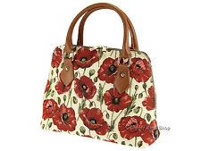 Signare Ladies Womens Tapestry Fashion Handbag / Shoulder Bag In Poppy Design