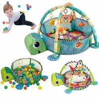 3 in1 Activity Play Turtle Baby Gym Floor Mat Free Ball Pit+Toys Babies Playmat