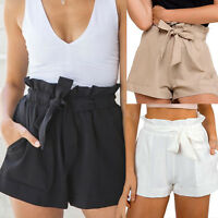 New Ladies Womens Casual High Waist Crepe Woven Tie Belt Shorts Hotpants UK 8-14