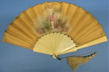 Victorian folding hand fan satin leaf Painted by Doiranty, celluloid sticks