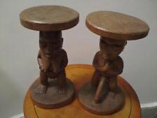 COPPIA di grandi dimensioni africano Luba MOSTRO dove vivo tribù Intagliato Maschio & Figure Sgabelli in Legno Donna