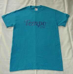 BLUE T SHIRT WITH TEMPO IN GLITTER FINISH ON FRONT - A4