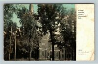 Greencastle IN, College Avenue Church, Vintage Indiana c1909 Postcard