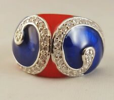 N 1/2 Ring   [ 925 Sterling Silver & Clear Cubic Zircon ] Red and  Blue