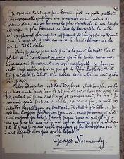 1912 Georges Normandy Fécamp La gloire de Jean Lorrain Manuscrit autographe rare