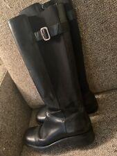Tall Leather Side Buckle 8M - Black Knee High Zipper Side Heels Boots Brazil