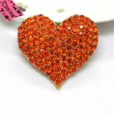 Betsey Johnson Charm Brooch Pin Gifts Hot Orange Love Bling Heart Crystal