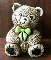 Artesania Rinconada Teddy Bear with Green Bow Tie 327 Ceramic Figurine Uruguay