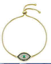 """QVC Diamonique cz Sterling Silver/Y Gold clad """"Evil Eye"""" Friendship Bracelet"""