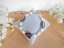 Juwelo Silber Armband Perlmutt & SWZ-Perlen 925 Sterling Silber Zertifikat   NEU