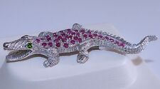 GENUINE! 2.20cts African Ruby & Chrome Diopside Crocodile Brooch S/Silver 925.