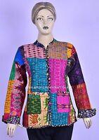 Vintage Patola Sari Mehrfarbig Mantel Patchwork Kantha Steppjacke Wendbar