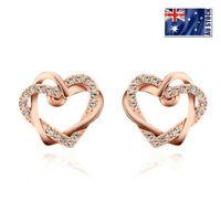 Stunning 18K Rose Gold Filled Lovely Heart Stud Earrings With SWAROVSKI CRYSTAL