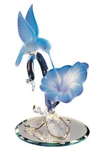 Glass Hummingbird Flower Handcrafted Figurine with Swarovski Crystal 22Kt Gold