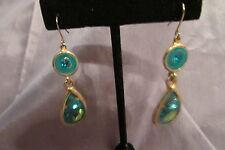 VINTAGE GOLD TONE BLUE & GREEN STONE BLUE ENAMEL DANGLE PIERCED EARRINGS